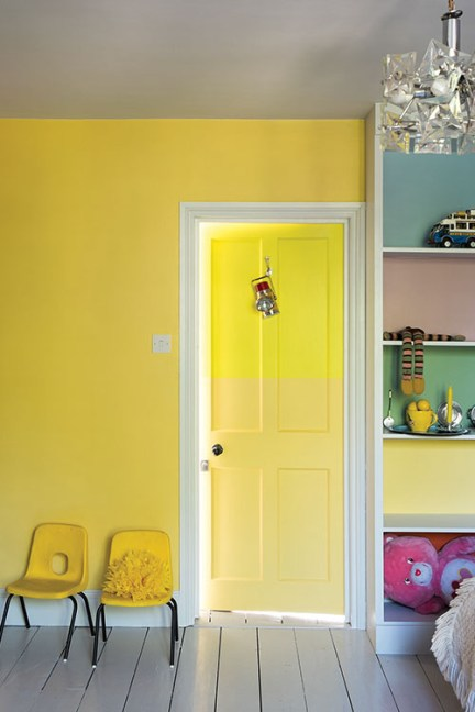 diy doors, farrow & ball dayroom yellow, yellow paint