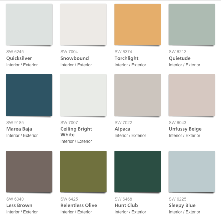 West Elm 2018 Spring/Summer Paint Color Palette, Sherwin-Williams West Elm 2018 Paint Colors