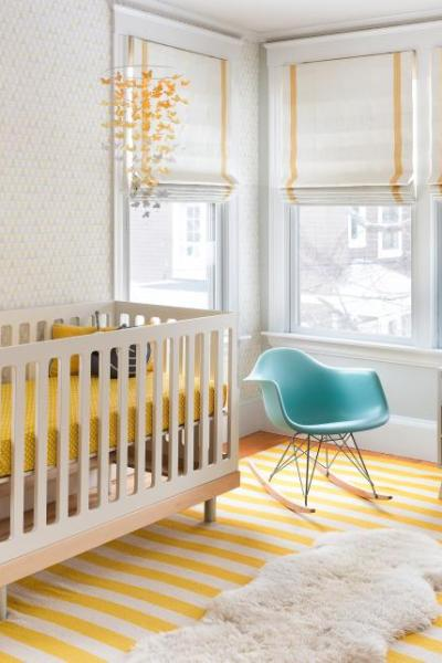 nursery, yellow, roman shades, white paint