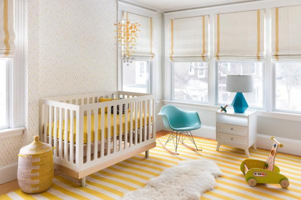 nursery, yellow, roman shades, white paint, yellow home decor