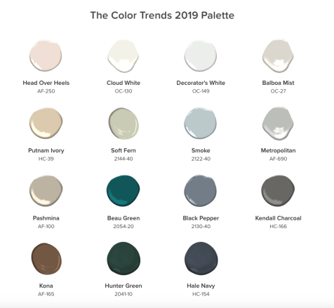 connecting, benjamin moore 2019 color trends