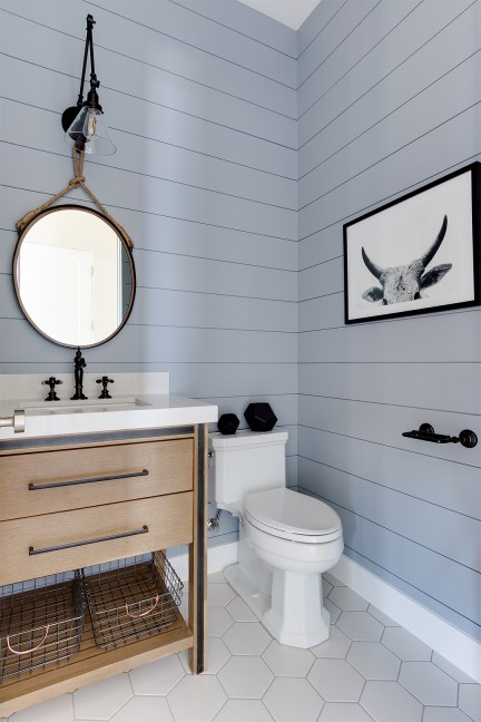 bathroom paint, shiplap update, bathroom, gray paint, simple wall decor