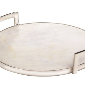 Owen Marble Round Tray with Aluminum Handles, Large