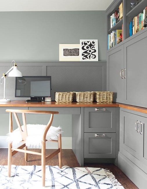 Home Office Storage Ideas, Gray Paint