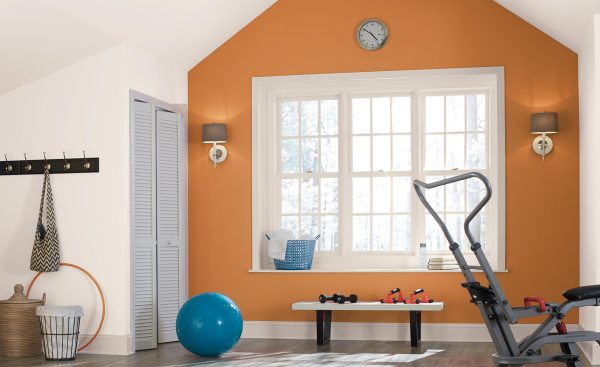 Home Gyms Paint Colors by Behr, Painter's White PPU18-09, Rumba Orange M230-7, white paint color, orange paint color, accent wall