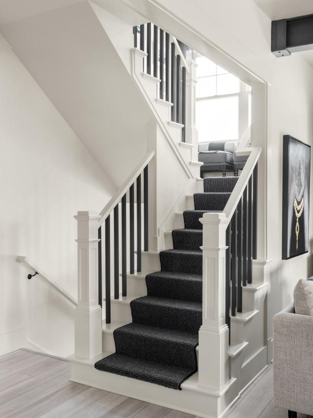 Staircase, White Paint Color, black and white staircase, neutral paint color