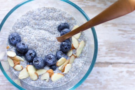image of easy chia pudding by intentionally eat with blueberries, slivered almonds and a spoon.
