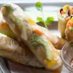 image of Easy Spring Rolls by Intentionally Eat on a plate with a bowl of peanut dipping sauce