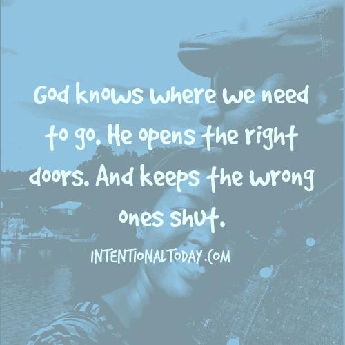 Walking through God's open doors