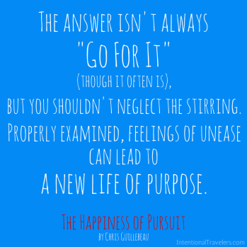Happiness of Pursuit book quote | Intentional Travelers