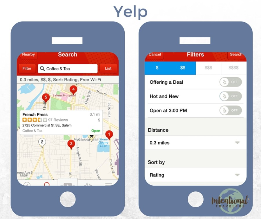Yelp | Our Favorite Apps for Better Travel | Intentional Travelers