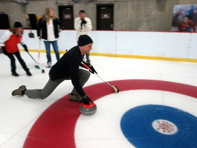 Mike learning to curl in Minnesota