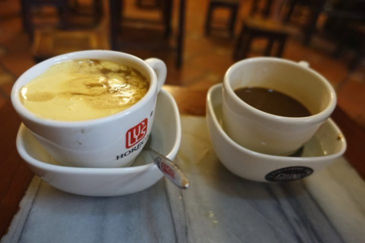 Egg coffee and coffee with sweetened condensed milk