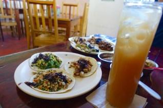 Tacos and agua de tamarindo
