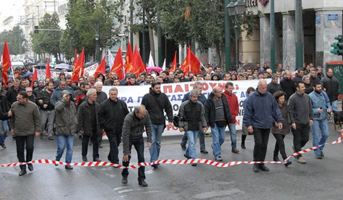 Workers demonstrate in Athens, Greece