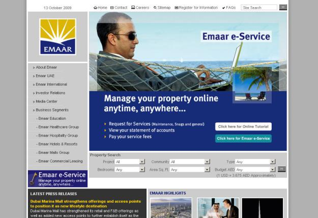emaar_website_homepage_screenshot