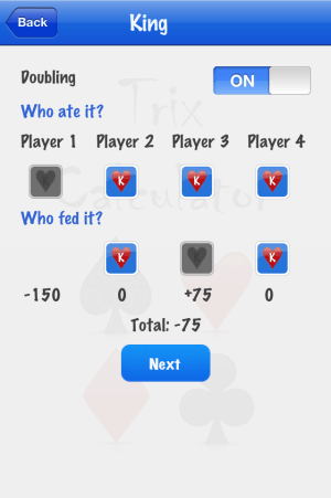 Trix Calculator adding K score screenshot