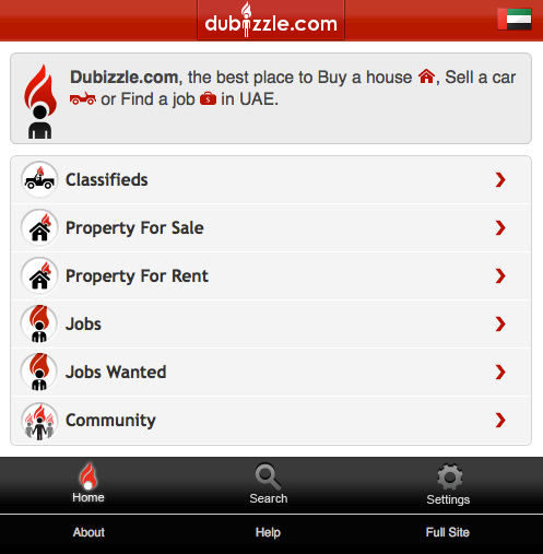 Dubizzle Mobile site Homepage