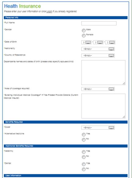 PriceFinder Health Insurance Form
