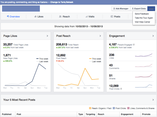 New facebook page insights dashboard