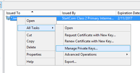 CRM IFD Manage Private Keys