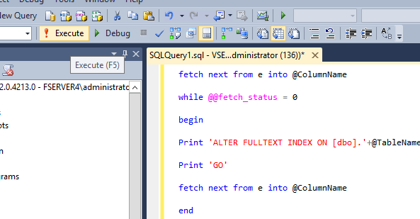 SQL Execute Query Key