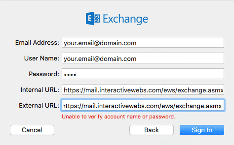 InteractiveWebs Email (smartermail) With Mac Mail Exchange