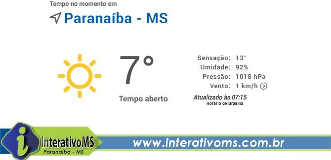 Paranaíba registra temperatura de 07 graus