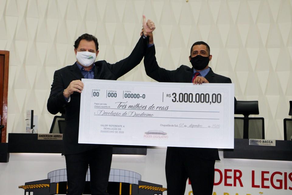 Vereadores de Chapadão do Sul devolveram R$ 3 milhões para a prefeitura
