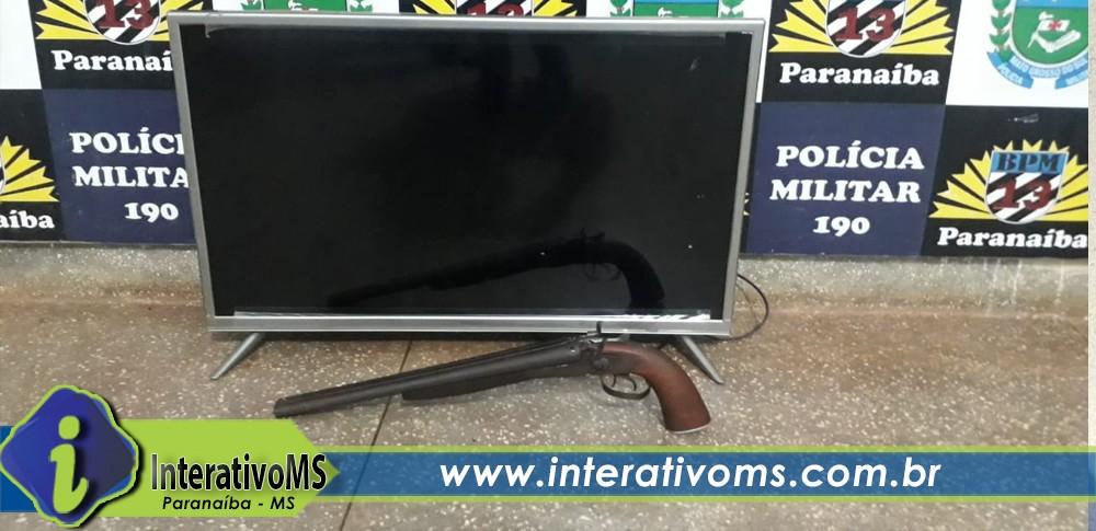 Rapaz é preso após furtar TV e arma de fogo de chácara em Paranaíba