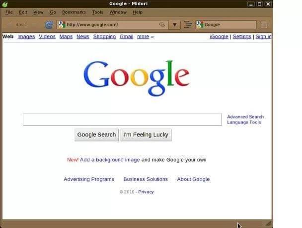 Midori web tarayıcı görünümü - Midori Nasıl Kullanılır