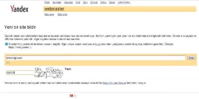 Yandex arama motoruna web site kayıt etme