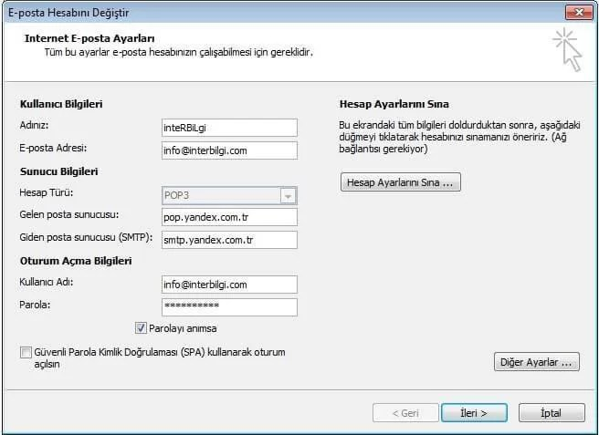 Yandex Mailleri Outlook'ta Kullanma (4/5)