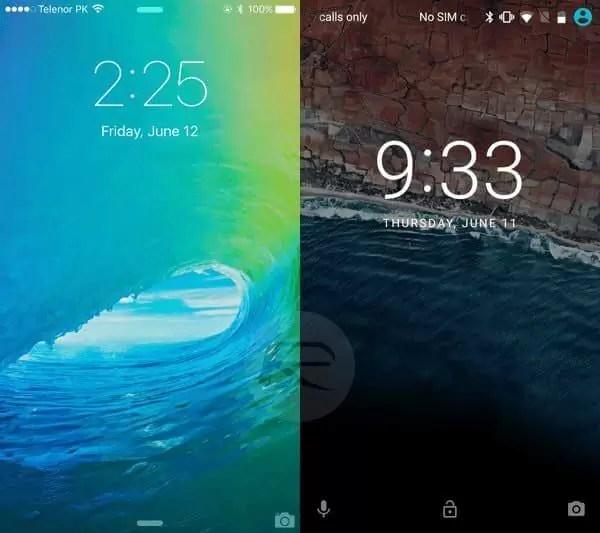 iOS 9 - Android M karşılaştırması kilit ekranı