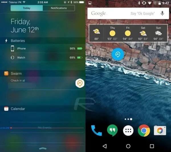 iOS 9 – Android M karşılaştırması Widget