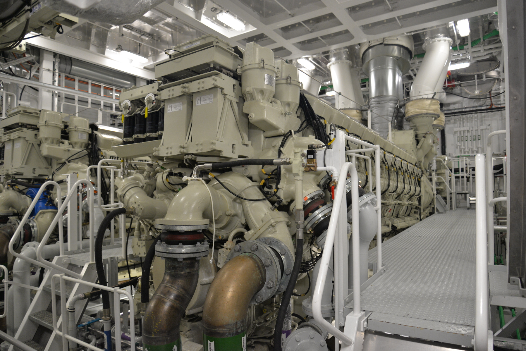 One of the ship's four MTU 20V M70 diesels. Together, they provide 32.8 megawatts to drive the ship's two propeller shafts.