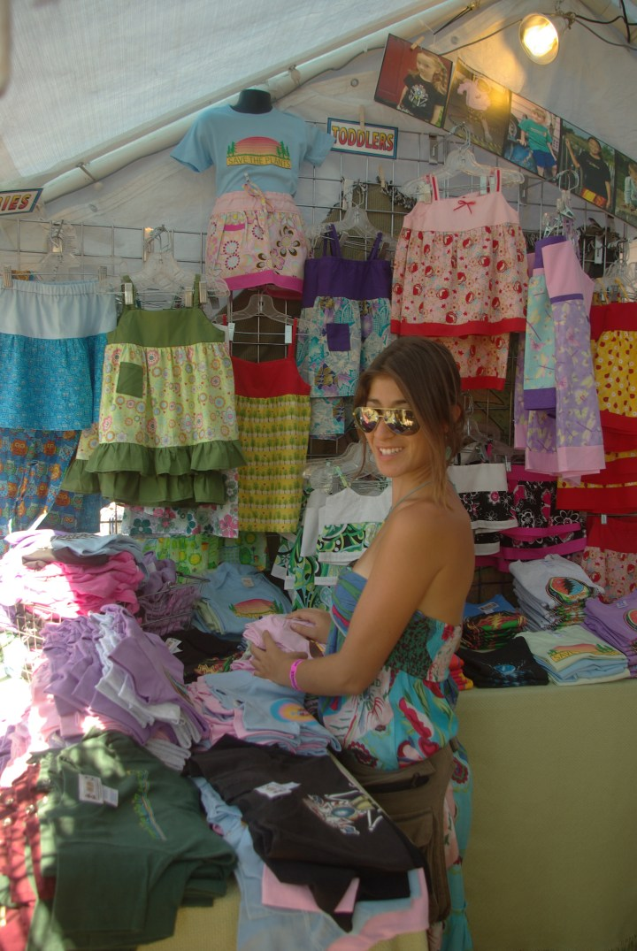 Lauren in the Little Hippie booth at Gathering of the Vibes 2010