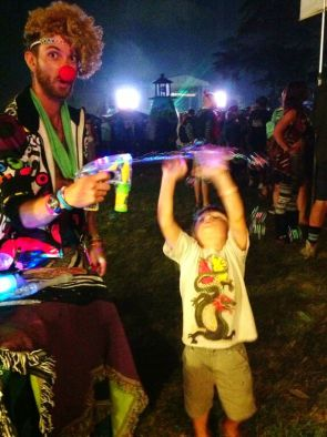 Little Hippie at Gathering of the Vibes 2014 clowning around with the bubble gun