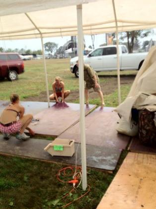 Building the Little Hippie store floor at Gathering of the Vibes 2012