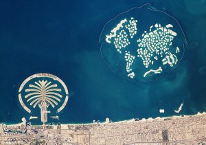world and palm islands from above