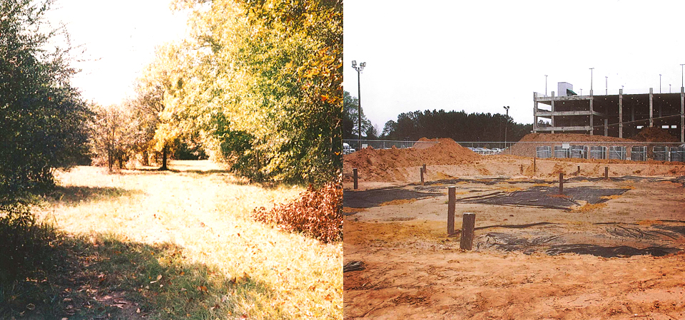 This is our land Before and After. The descendants of Oce Vpofv are fighting to preserve the ceremonial ground and burial grounds against further development.  Image:  www.savehickoryground.org