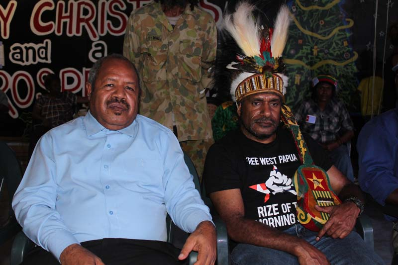 Papua New Guinea National Capital District Governor Powes Parkop with Independence leader, Benny Wenda at the concert for a free West Papua, Jack Pidik Park, Port Moresby 6 March 2013.