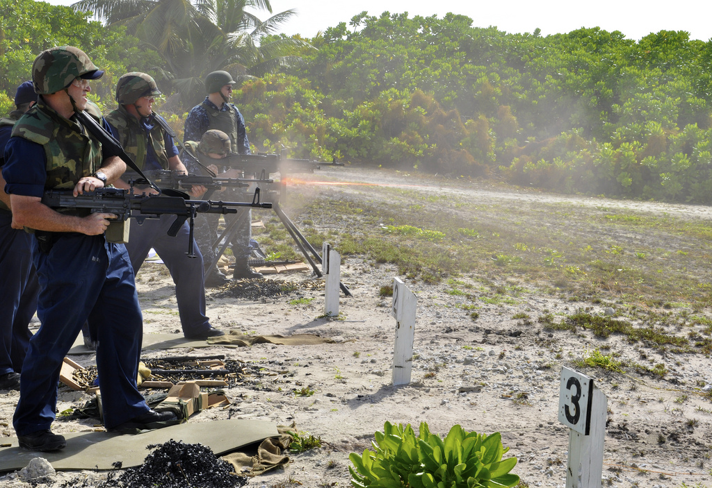 Sailors engage in a live-fire training exercise at the British Indian Ocean Territory firing range. Photo:  U.S. Pacific Fleet (CC BY-NC 2.0)