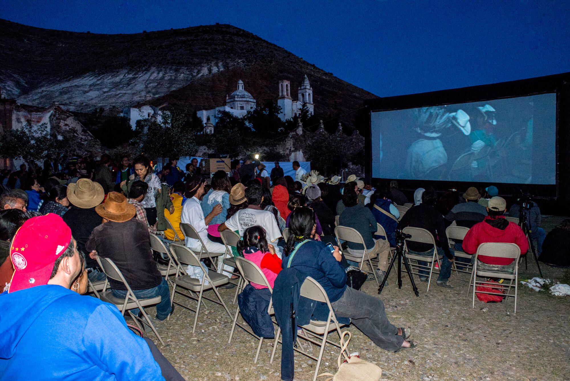 """The iconic colonial church and silvery hills of Real de Catorce served as a backdrop for the world premiere of """"Huicholes: The Last Peyote Guardians."""" (Credit: José Andrés Solórzano)"""