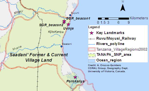 Figure 5. Extent of Saadani's village lands before the SGR and the SNP were established, and extent of land (white) left after the creation of the SNP in 2005. Village lands spatial layer: http://www.tzgisug.org/wp/
