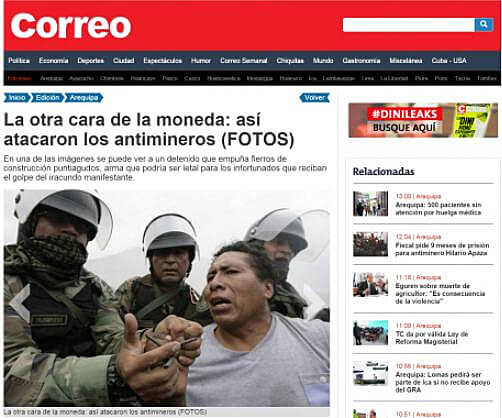 Diario Correo fake article and photo published and later removed.