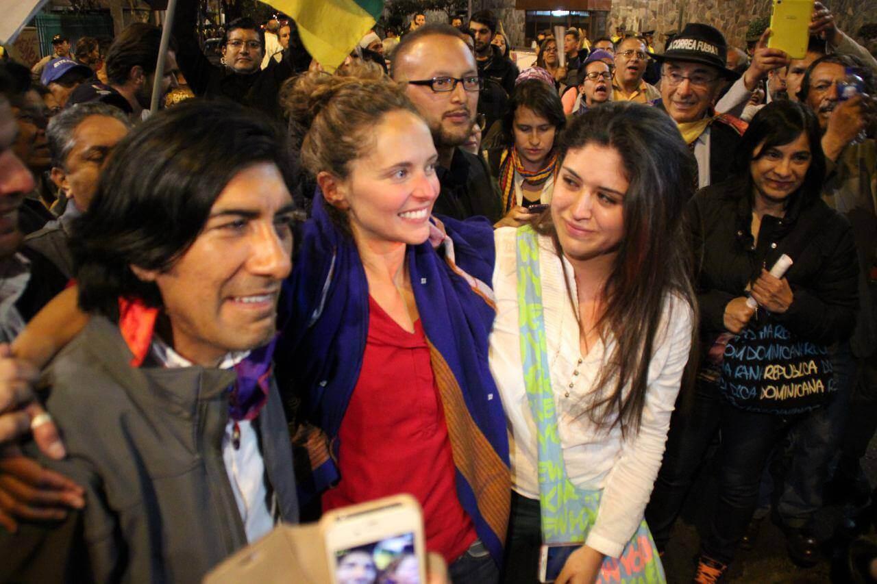 Manuela Picq (center) and Carlos Perez Guartambel (left). (Photo: CONAIE)
