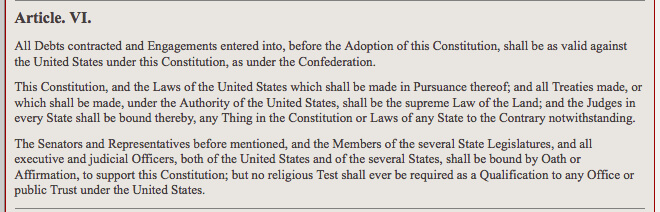 Article VI of the U.S. Constitution which includes the clause that establishes treaties made under its authority, are the supreme law of the land