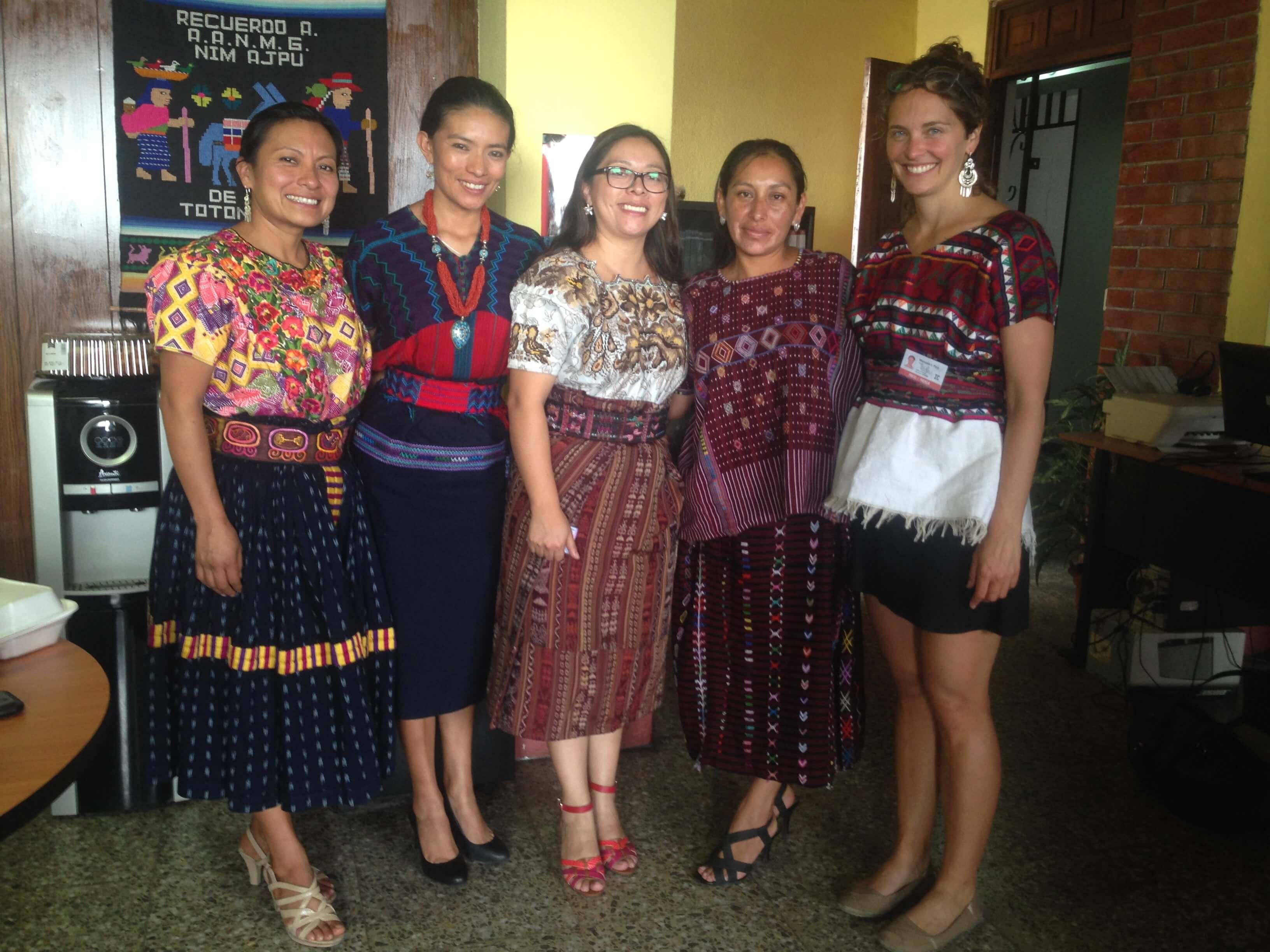 Nim Ajpu lawyers Angelina Aspuac, Ixquik Poz, Mellina Salvador, and  Rosa Ixcol  with Manuela Picq (right). Photo: José Agry Sian