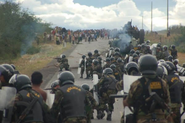 Peruvian forces open fire on the Awajun and Wampis. Photo: unknown